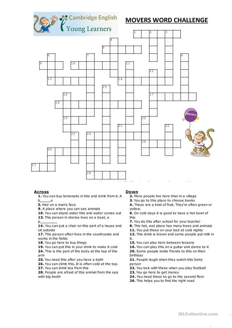 Movers Word Puzzles Worksheet - Free Esl Printable Worksheets Made - Printable Vocabulary Puzzles
