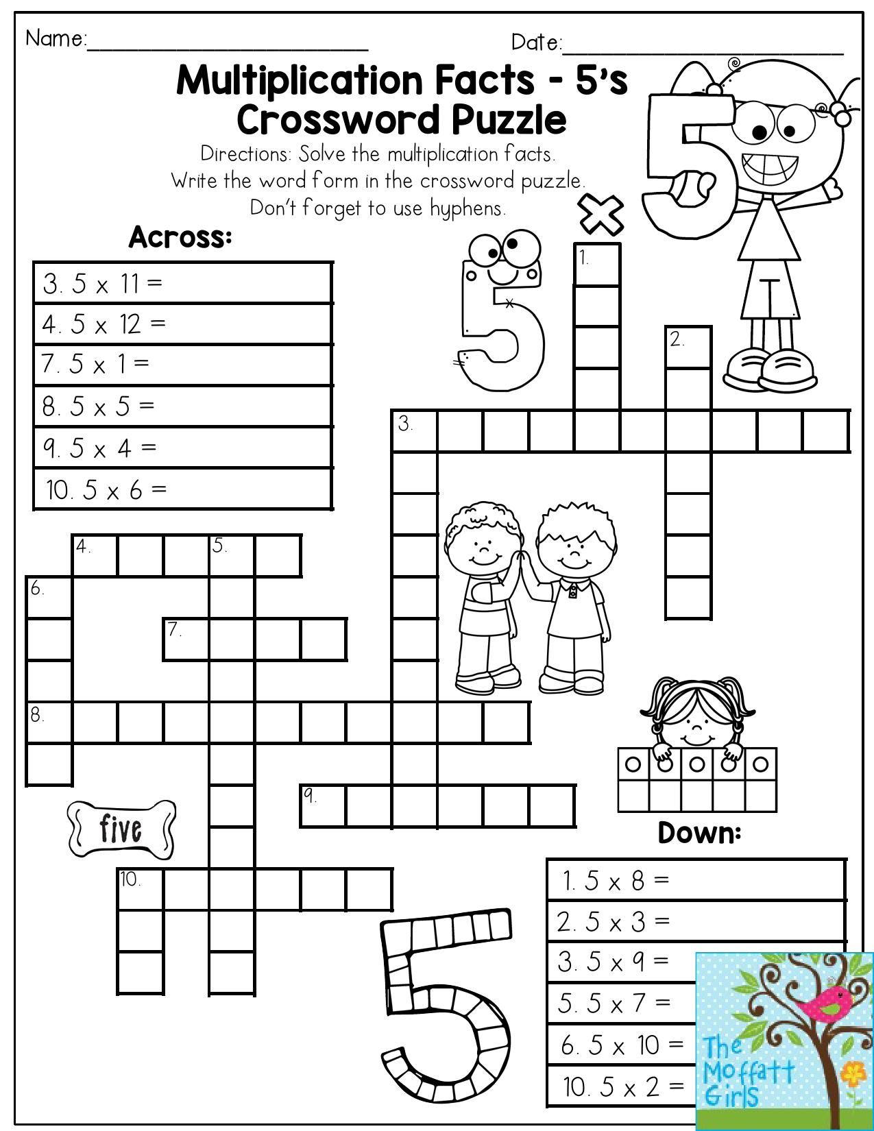 Multiplication Facts Crossword Puzzle- Third Grade Students Love - Printable Crossword Puzzle For 2Nd Graders