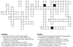 Music Crossword Puzzle Activity   Printable English Crossword Puzzles With Answers Pdf
