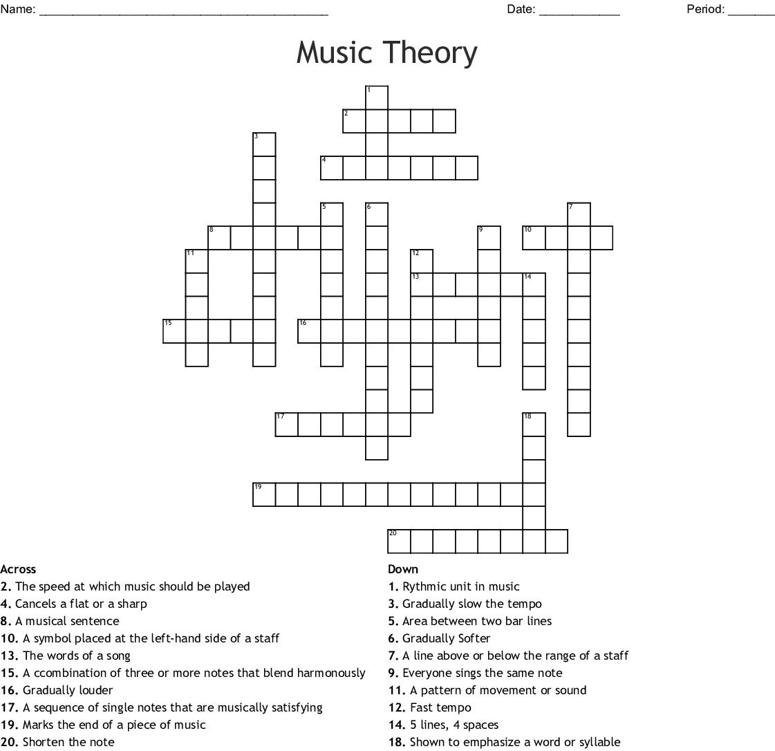 Music Theory Crossword - Wordmint - Music Crossword Puzzles Printable