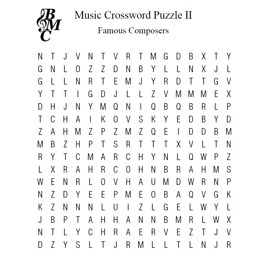 Music Word-Search Ii : Famous Composers – Learn To Play - Printable Music Crossword Puzzles
