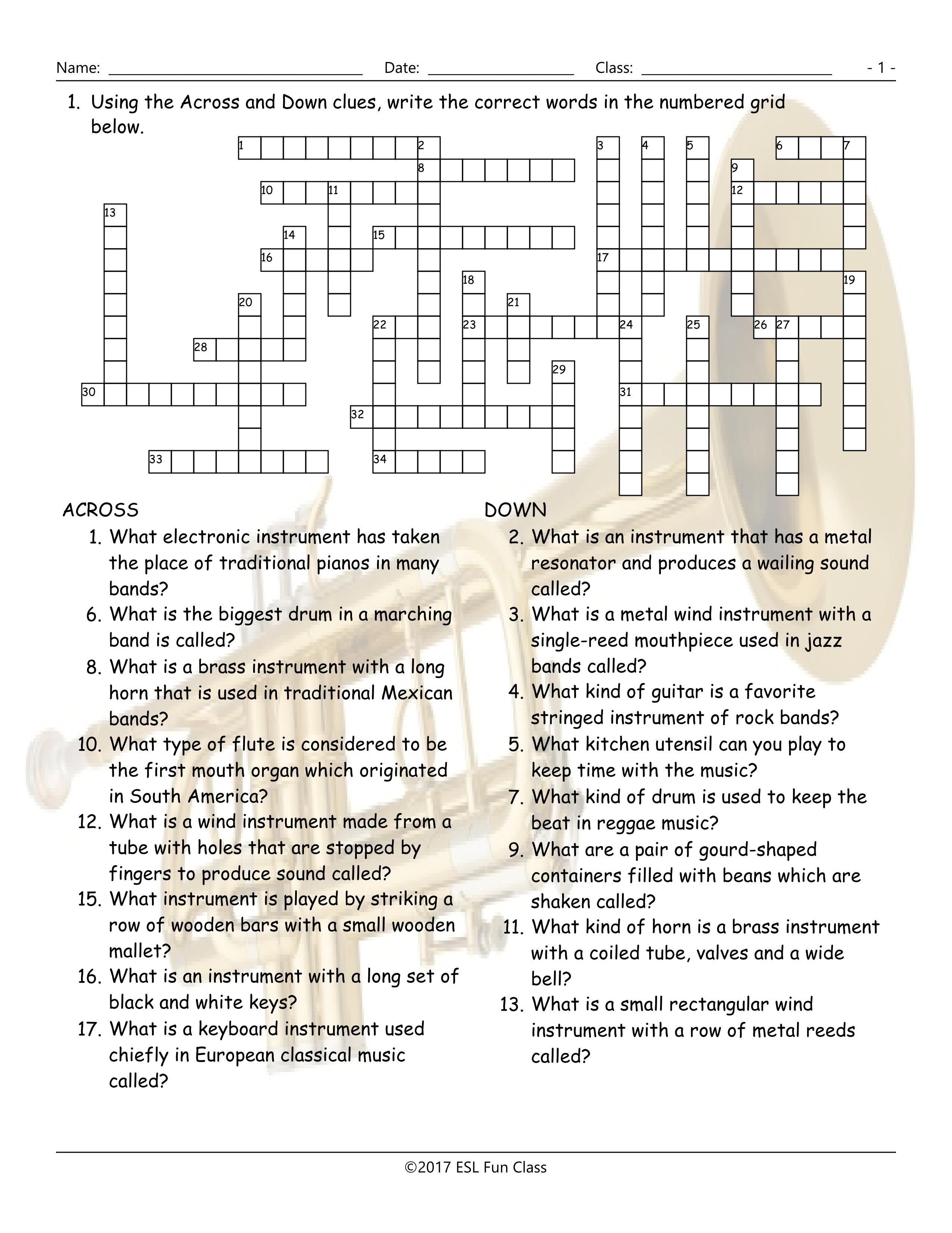Musical Instruments Crossword Puzzle Worksheet-Esl Fun Games-Have Fun! - Vocabulary Crossword Puzzle Printable