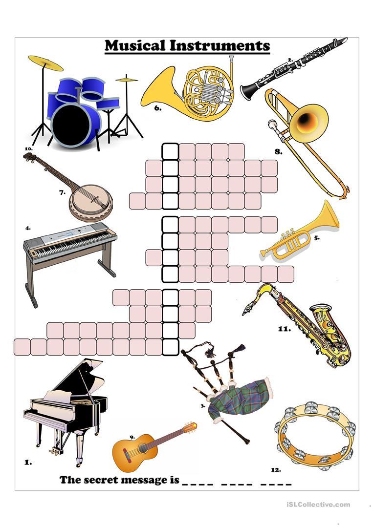 Musical Instruments Crossword Worksheet - Free Esl Printable - Printable Crosswords Music