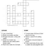 Musical Instruments In The Bible Crossword With Answer Sheet   Music Crossword Puzzles Printable