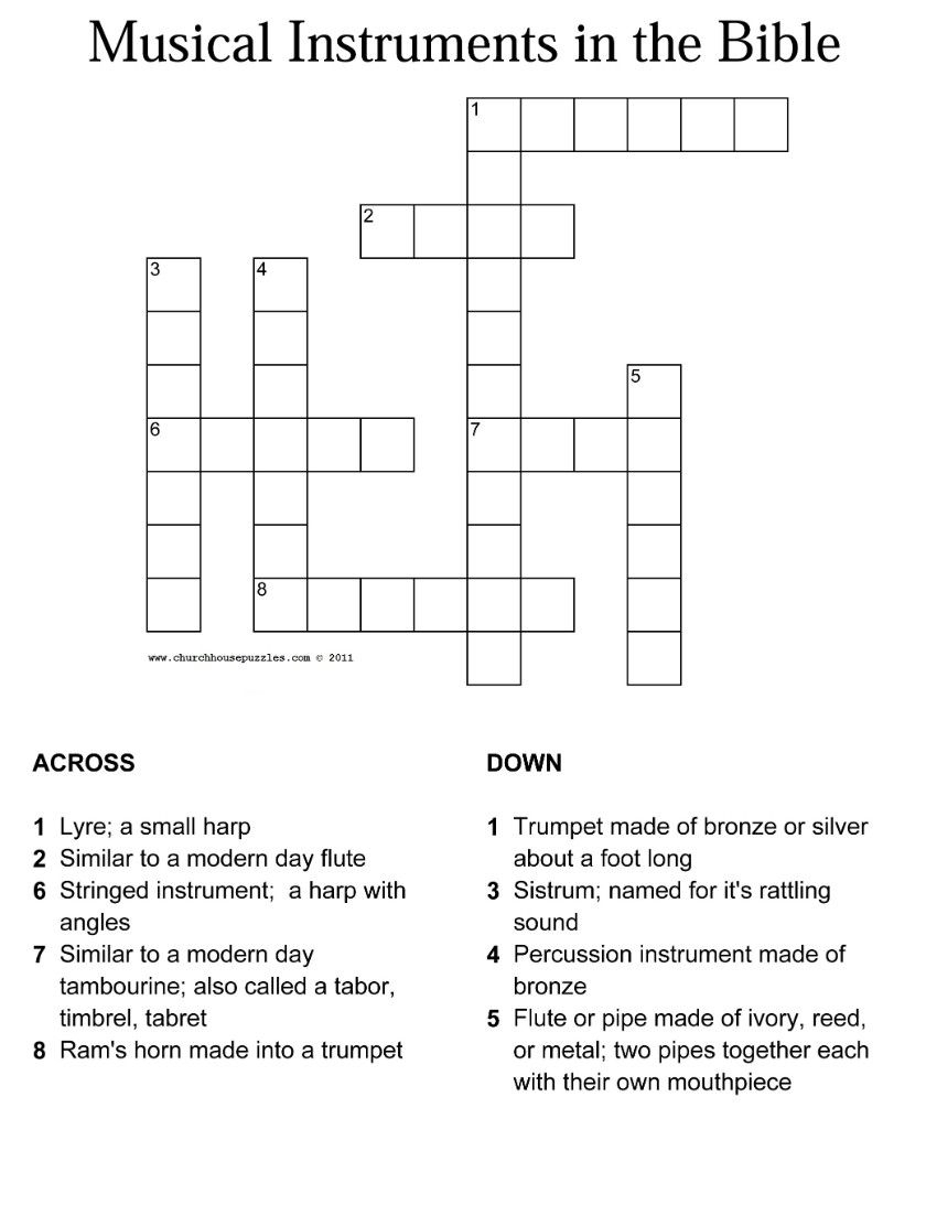 Musical Instruments In The Bible Crossword With Answer Sheet - Religious Crossword Puzzle Printable
