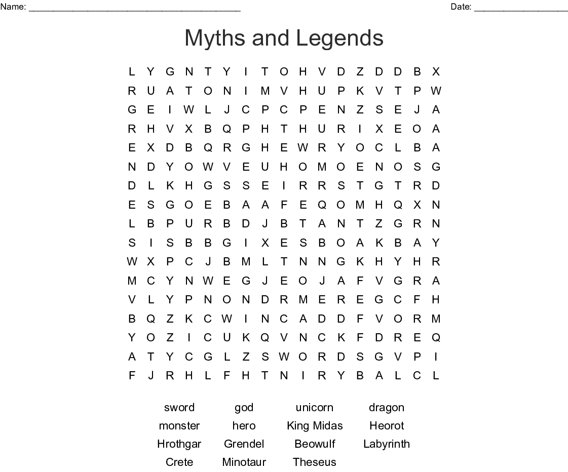 Myths And Legends Word Search - Wordmint - Printable Beowulf Crossword Puzzle