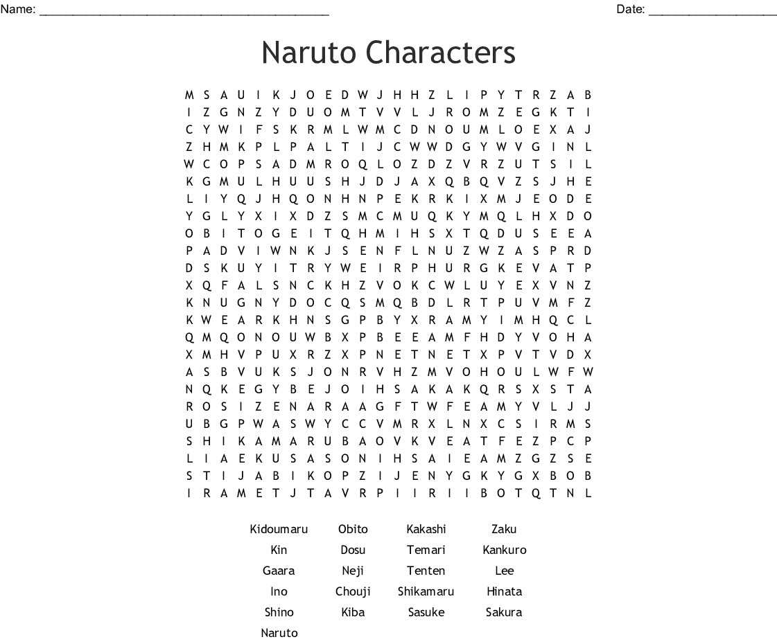 Naruto Characters Word Search - Wordmint - Printable Naruto Crossword Puzzles