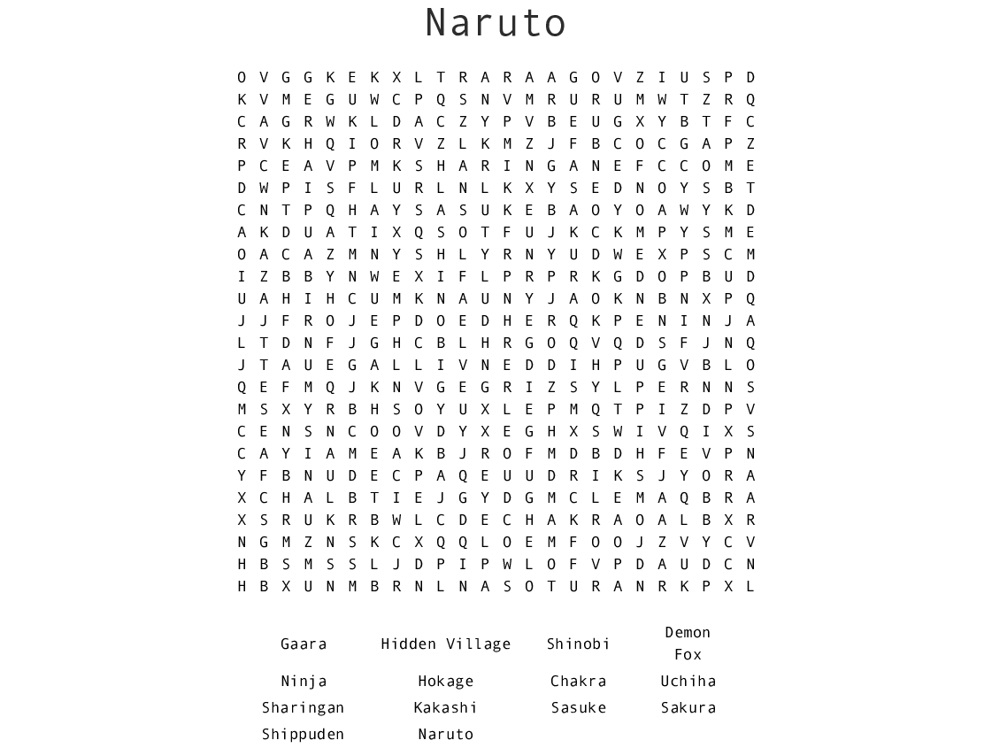 Naruto Word Search - Wordmint - Printable Naruto Crossword Puzzles