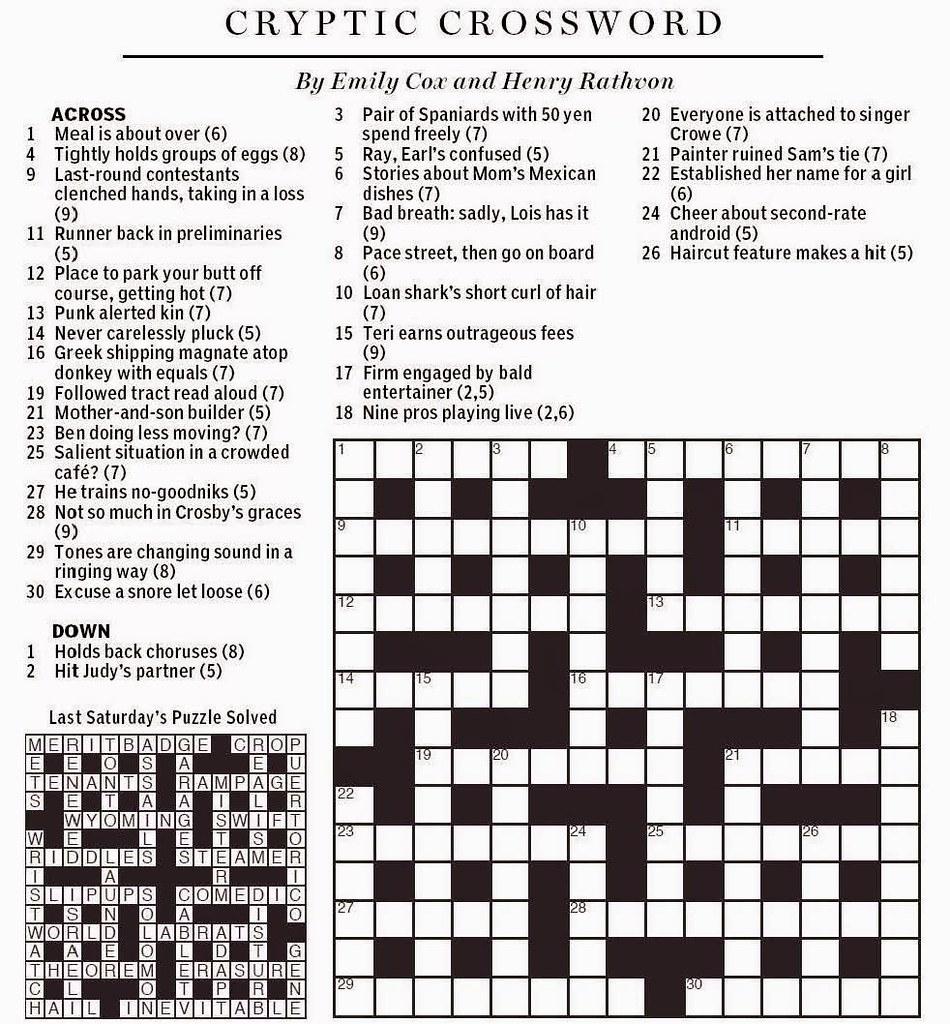National Post Cryptic Crossword - Cox & Rathvon August 9, … | Flickr - Printable Crossword Puzzles Wsj