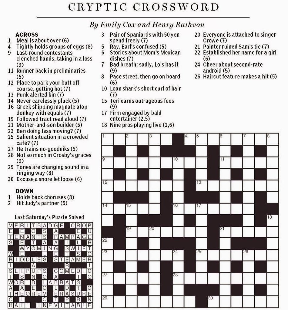 National Post Cryptic Crossword - Cox & Rathvon August 9, … | Flickr - Wall Street Journal Crossword Puzzle Printable
