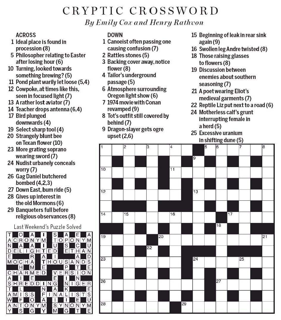 National Post Cryptic Crossword Forum: Saturday, April 20, 2019 - Printable Telegraph Crossword