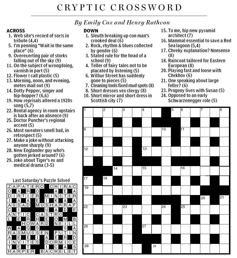 National Post Cryptic Crossword Forum: Saturday, April 7, 2012 - Printable Crossword Puzzles 2012