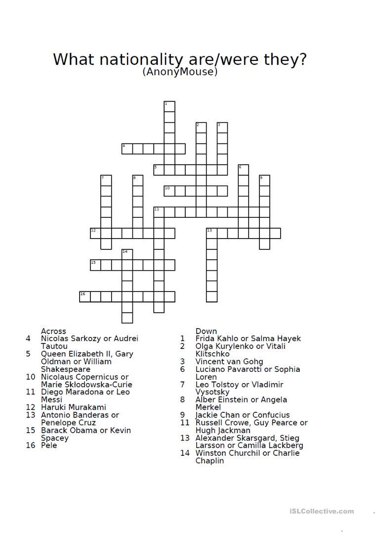 Nationalities Crossword Puzzle Worksheet - Free Esl Printable - Crossword Puzzles For Esl Students Printable