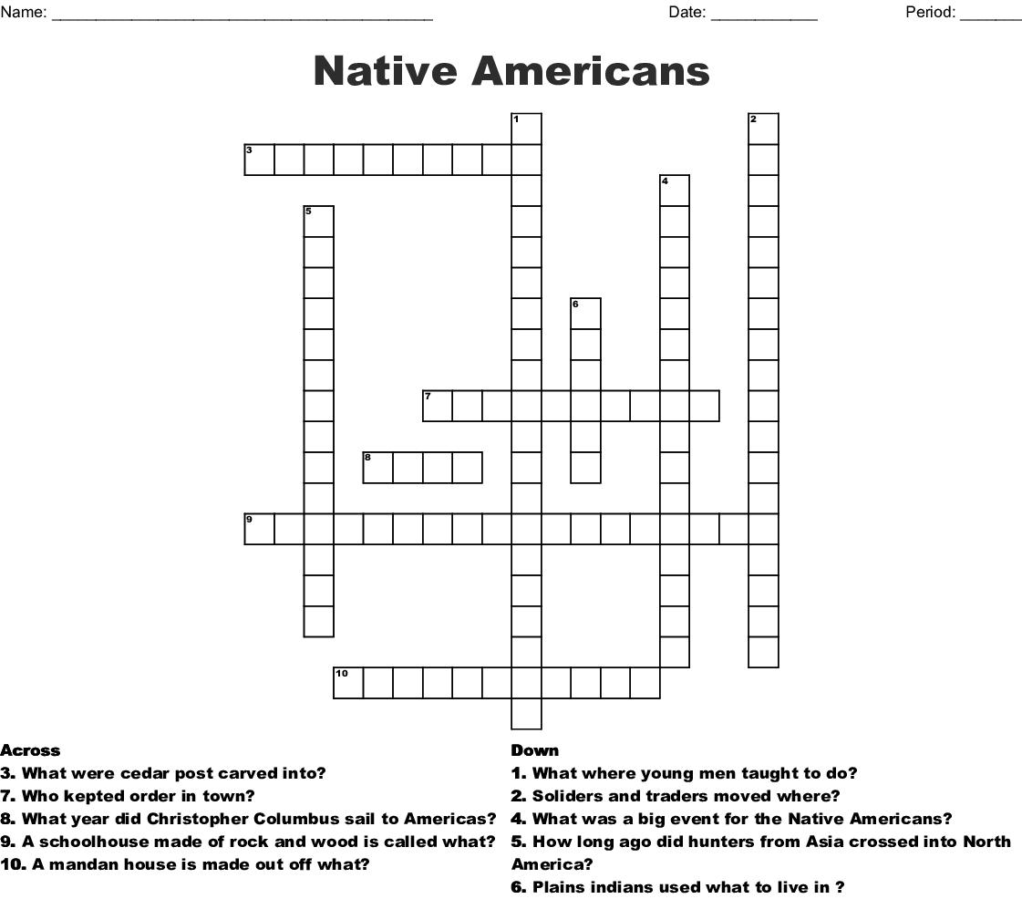 Native Americans Crossword - Wordmint - Native American Crossword Puzzle Printable