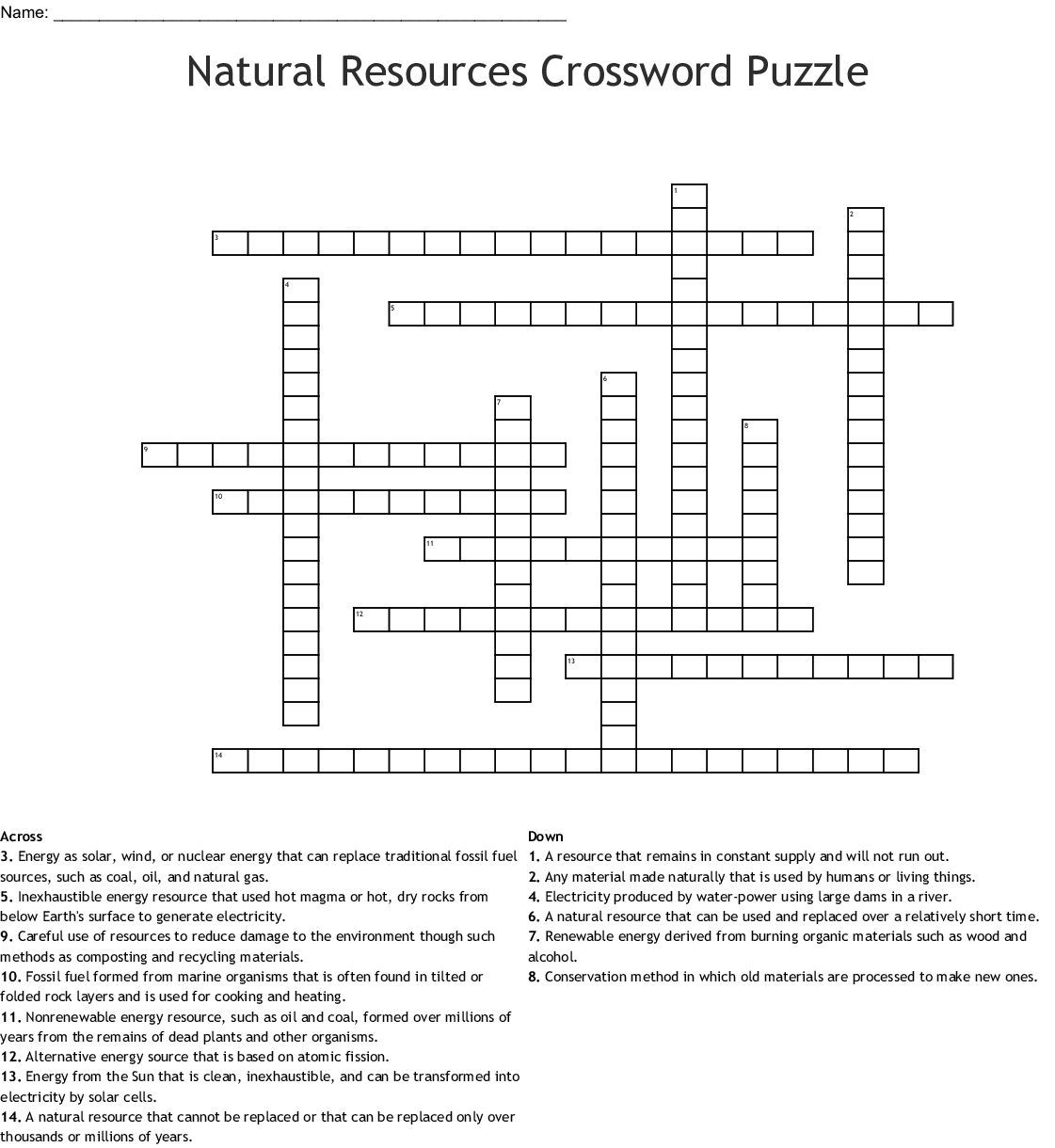Natural Resources Crossword Puzzle Crossword - Wordmint - Recycling Crossword Puzzle Printable