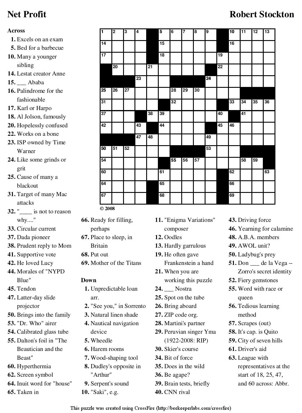 Netprofit Large Crosswords Printable Crossword Puzzle - Printable Enigma Puzzles