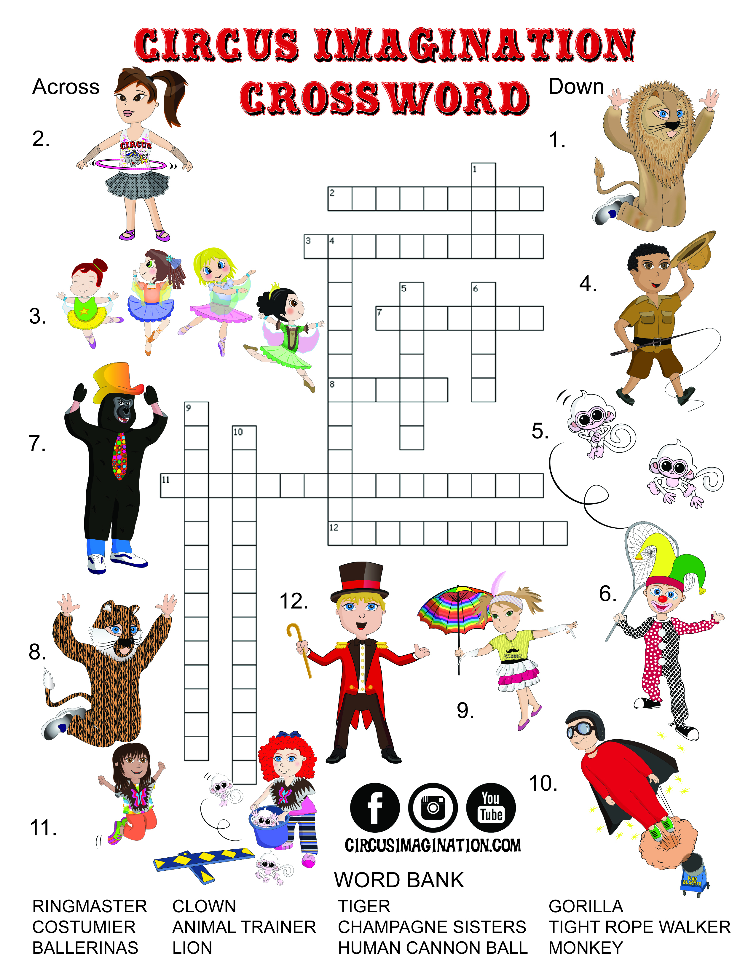 New! Exclusive Circus Printables! Coloring Pages And Crossword - Circus Crossword Puzzle Printables
