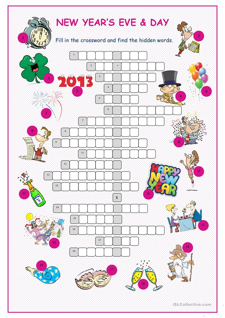 New Year's Eve &day Crossword Puzzle Worksheet - Free Esl Printable - New Year Crossword Puzzle Printable