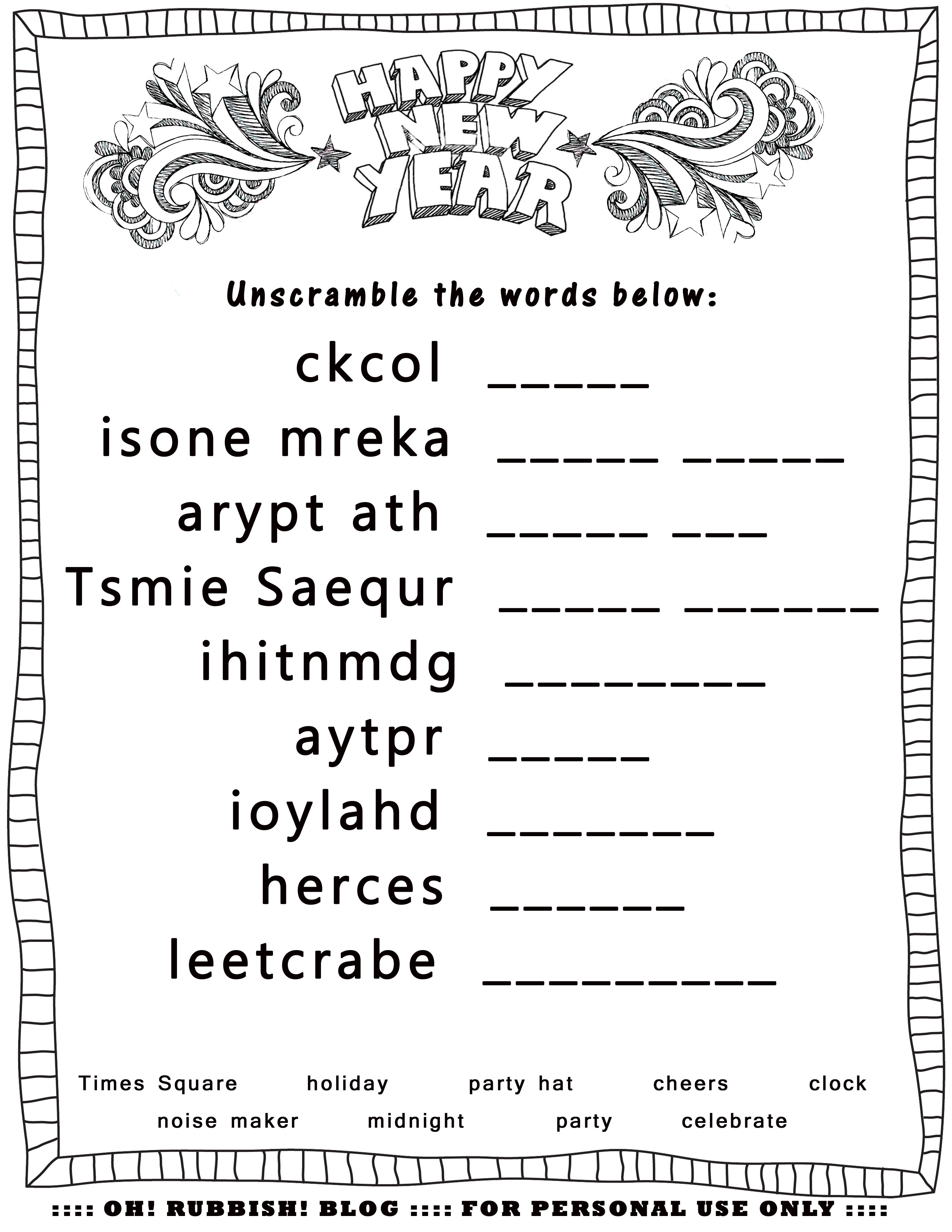 New Year's Printable Activities :: Entertain Your Kids With 4 New - Free Printable Unscramble Puzzles
