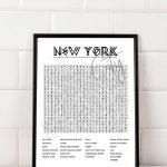 New York City Crossword Word Search Printable Art Digital | Etsy   50 States Crossword Puzzle Printable