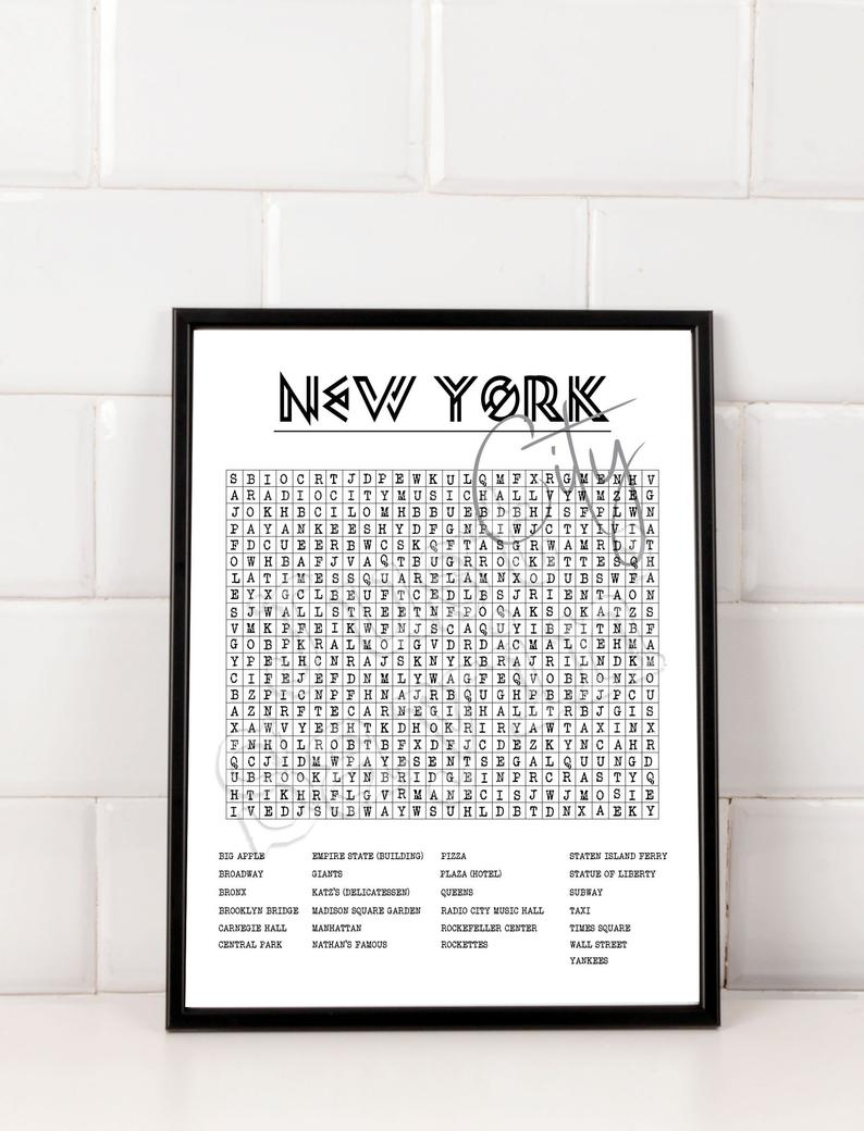 New York City Crossword Word Search Printable Art Digital | Etsy - 50 States Crossword Puzzle Printable