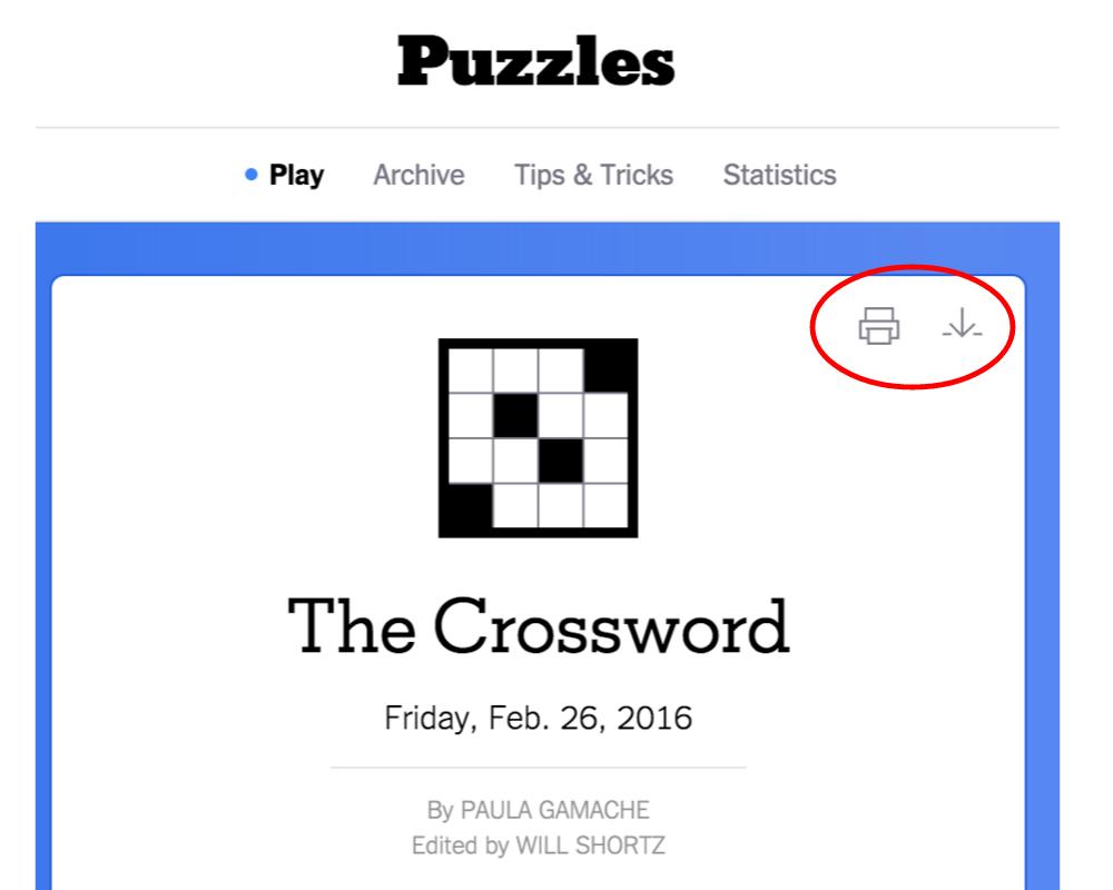New York Times Crossword – Help - Printable Dropdown Puzzles