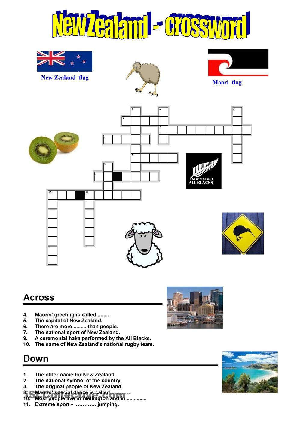 New Zealand - Crossword | Preschool :) | New Zealand, Worksheets - Printable Crosswords Rugby