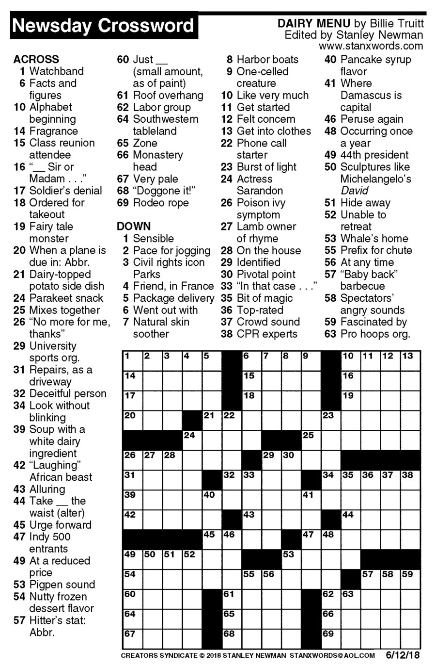Newsday Crossword Puzzle For Jun 12, 2018,stanley Newman - Printable Crossword Newsday