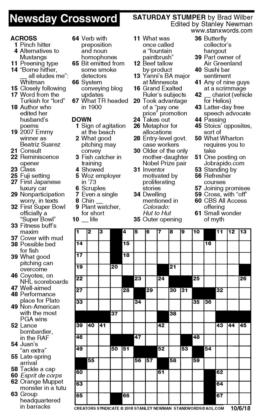 Newsday Crossword Puzzle For Oct 06, 2018,stanley Newman - Printable Sunday Crossword 2018