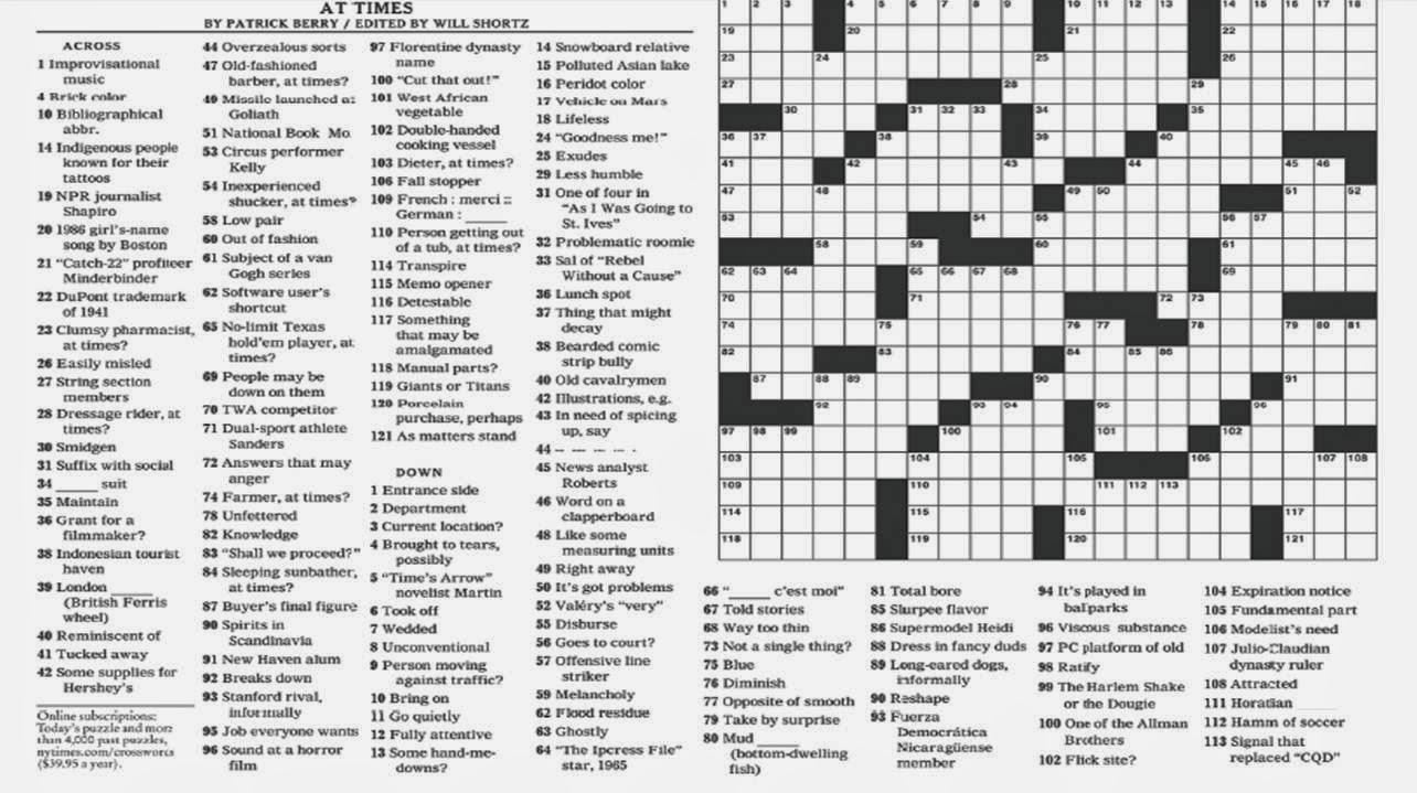 Noli Insipientium Iniurias Pati: New York Times Crossword Clue - New - New York Times Crossword Puzzle Printable