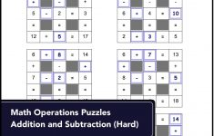 Number Grid Puzzles For Math Operations Puzzles: Addition And   Printable Grid Puzzles