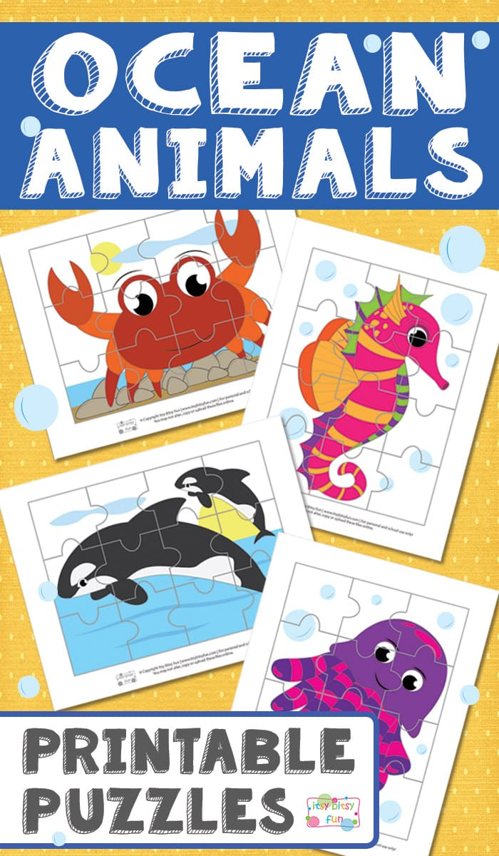 Ocean Animals Printable Puzzles For Kids - Itsy Bitsy Fun - Printable Animal Puzzles