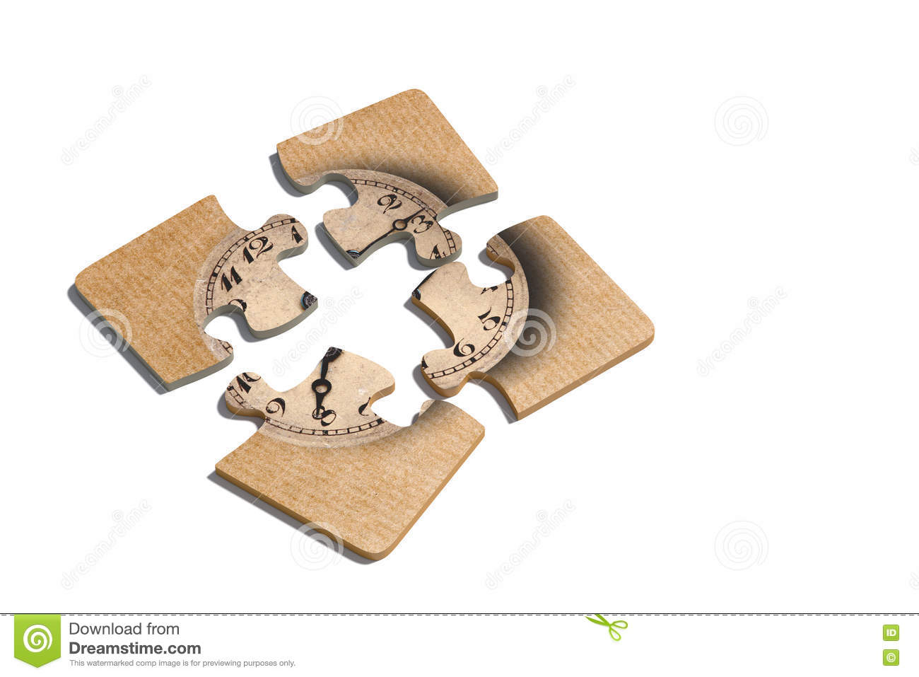 Old-Fashioned Clock Print On Puzzle Pieces Stock Image - Image Of - Print On Puzzle
