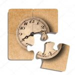 Old Fashioned Clock Print On Puzzle Pieces — Stock Photo © Erllre   Print On Puzzle