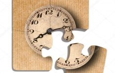 Old Fashioned Clock Print On Puzzle Pieces — Stock Photo © Erllre   Print On Puzzle Pieces