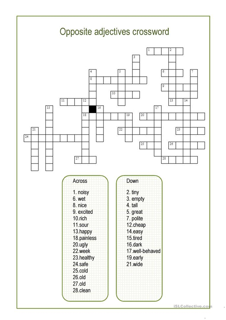 Opposite Adjectives Crossword Worksheet - Free Esl Printable - Printable Opposite Crossword Puzzle