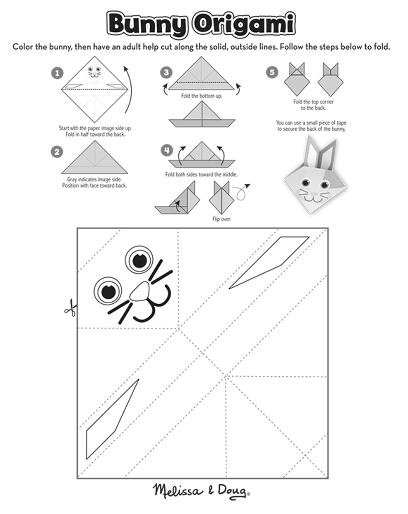 Origami Bunny Activity Free Printable | Melissa & Doug Blog - Printable Origami Puzzle