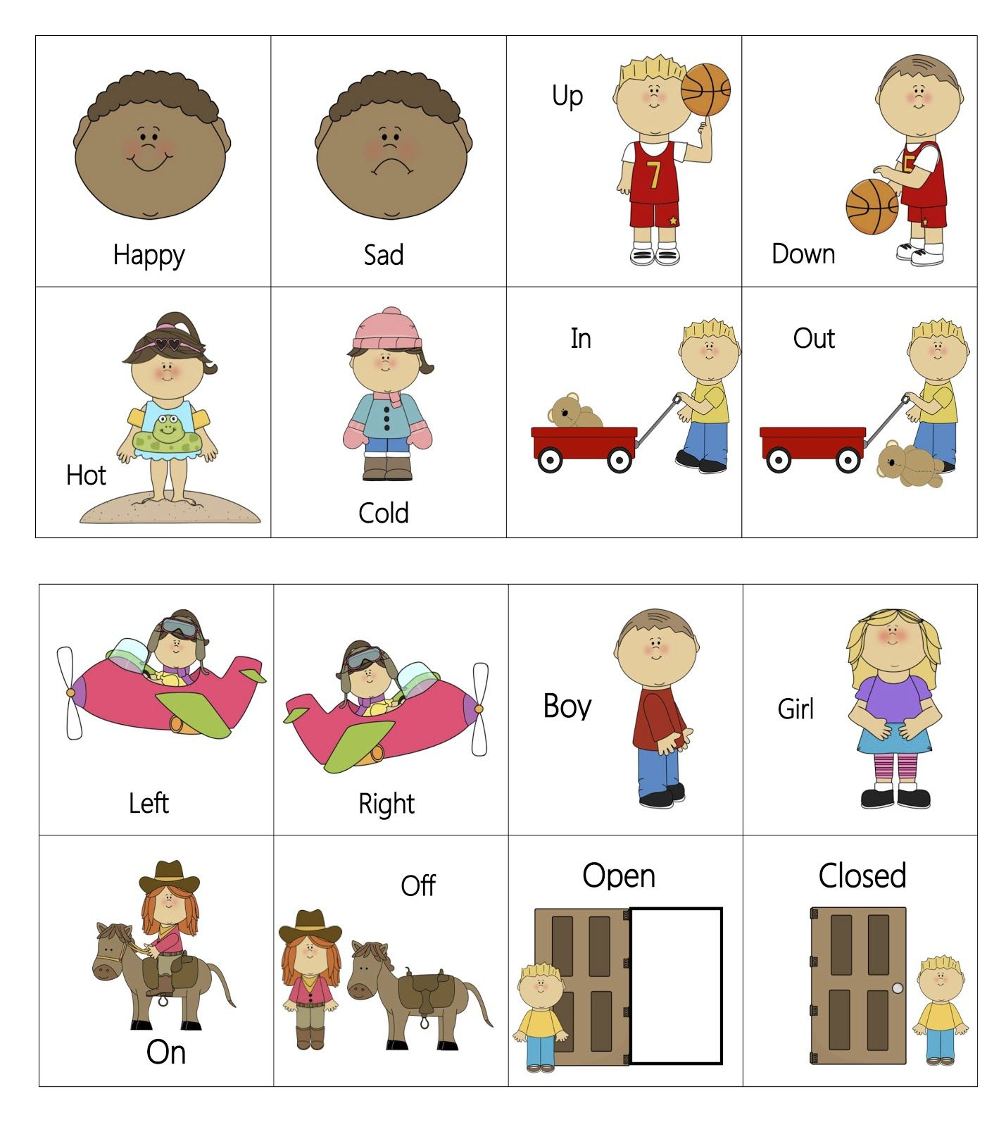 Ourhomecreations: Free Printable Everyday Opposites Flashcards | Mt - Printable Opposite Puzzles