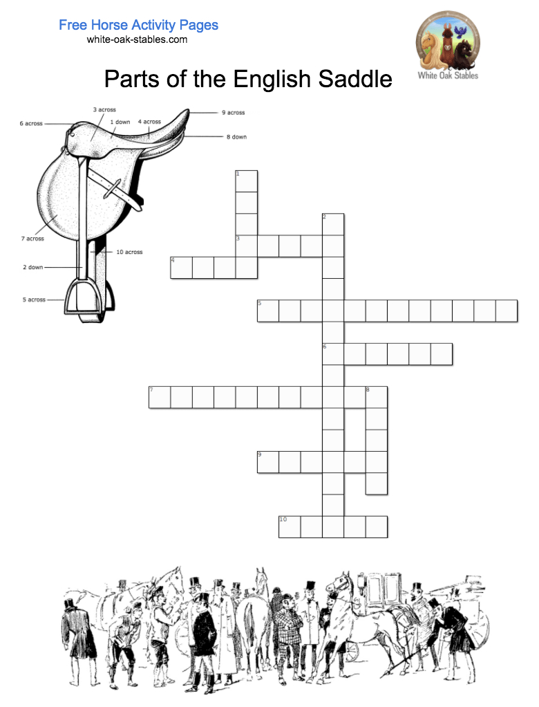 Parts Of English Saddle Crossword – Activity Page | Horse Education - Horse Crossword Puzzle Printable