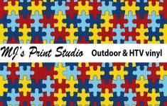 Pattern Craft Vinyl Autism Puzzle Vinyl Outdoor Vinyl | Etsy   Puzzle Print Vinyl