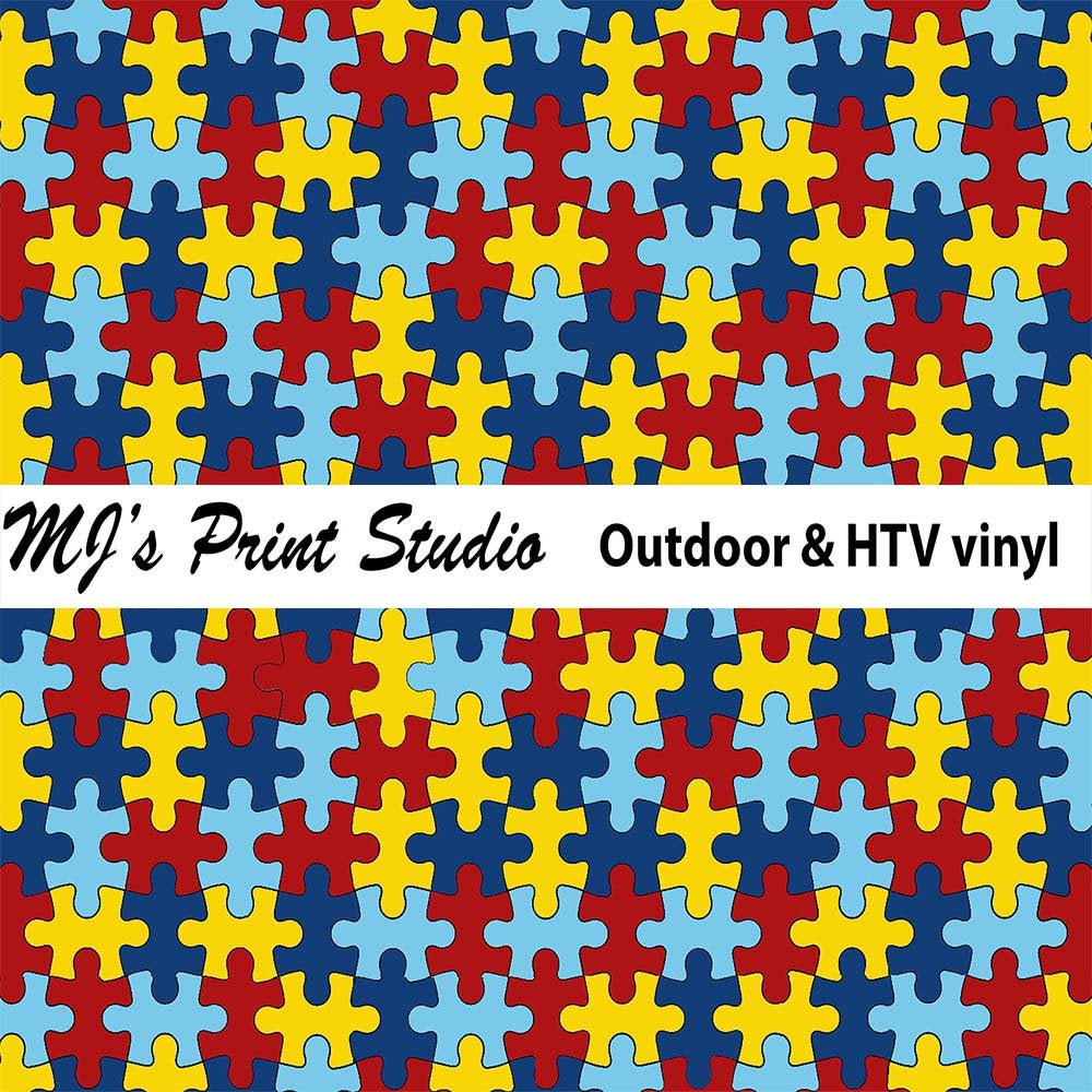 Pattern Craft Vinyl Autism Puzzle Vinyl Outdoor Vinyl | Etsy - Puzzle Print Vinyl
