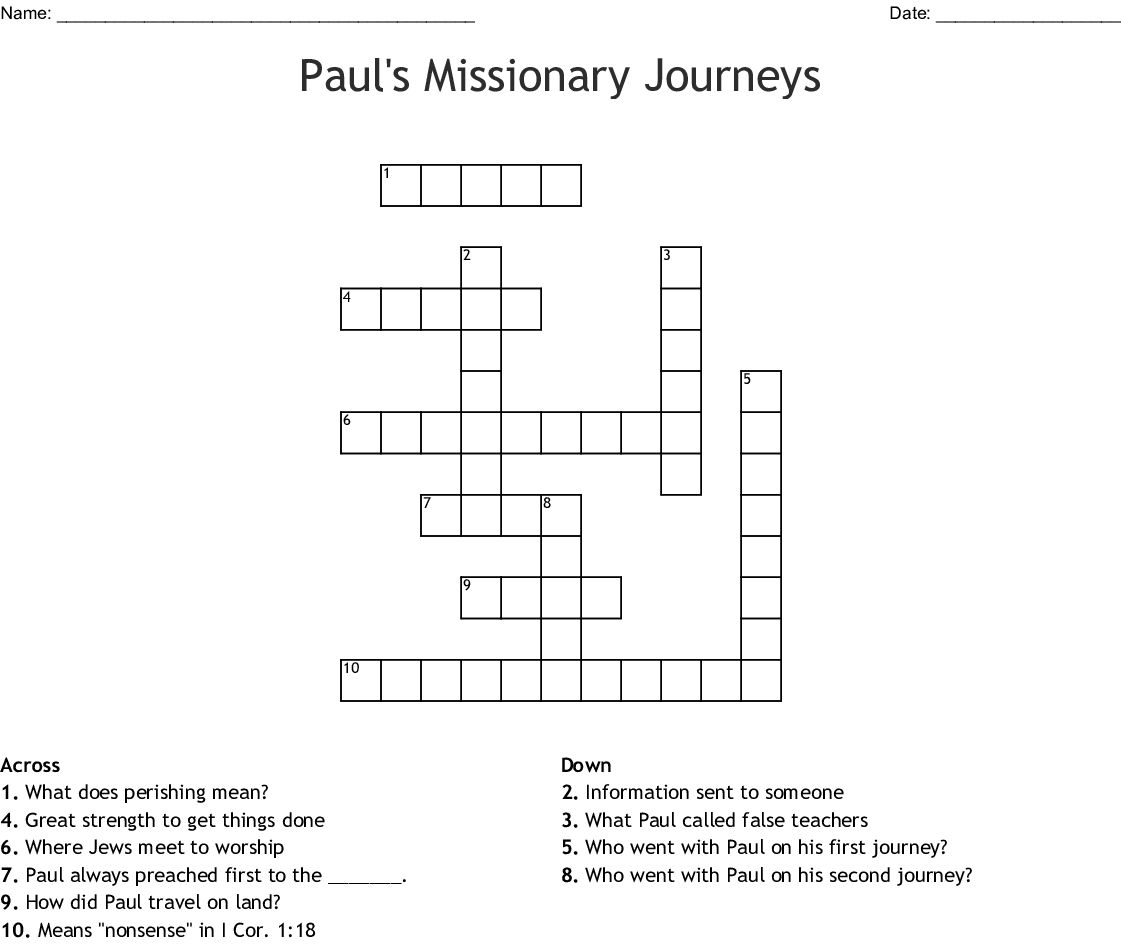 Paul's Missionary Journeys Crossword - Wordmint - Printable Crossword Puzzles 1978