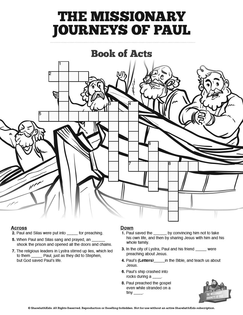 Paul's Missionary Journeys Sunday School Crossword Puzzles: Paul's - Printable Bible Crossword Puzzle The Apostle Paul Answers