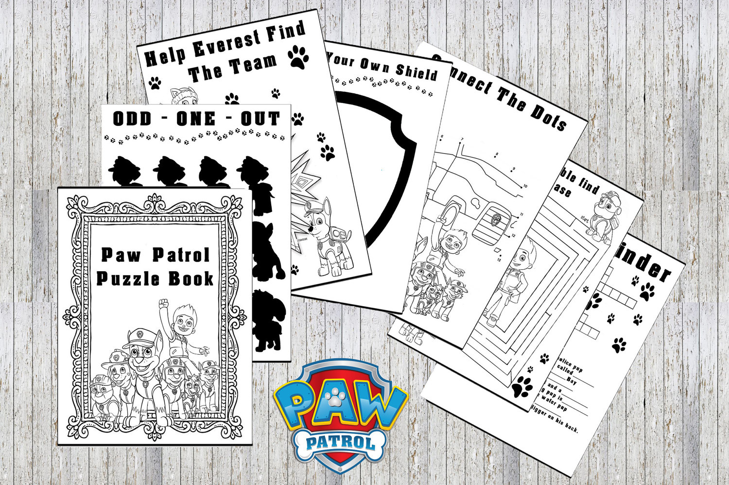 Paw Patrol Printable Puzzle Quiz Colouring Book Ideal | Etsy - Printable Puzzle Quiz