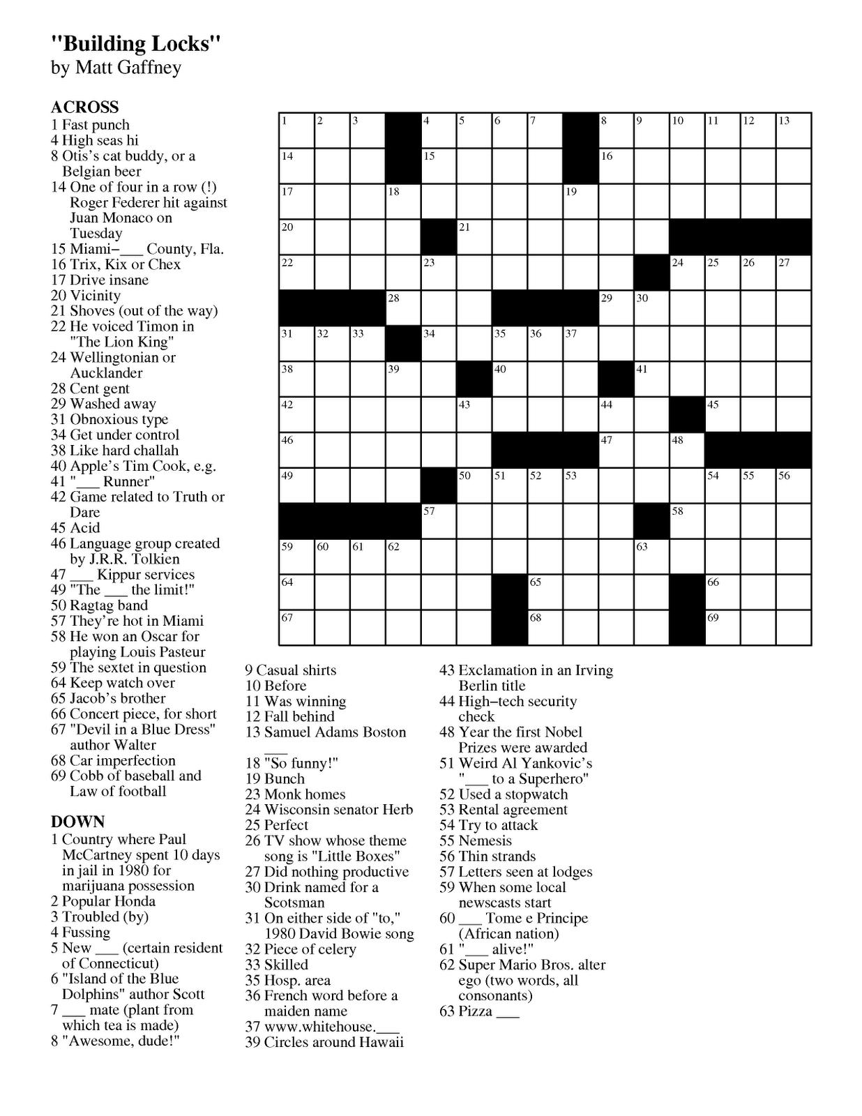 Pdf Easy Latin Crossword Puzzles - Simple Crossword Puzzles Printable
