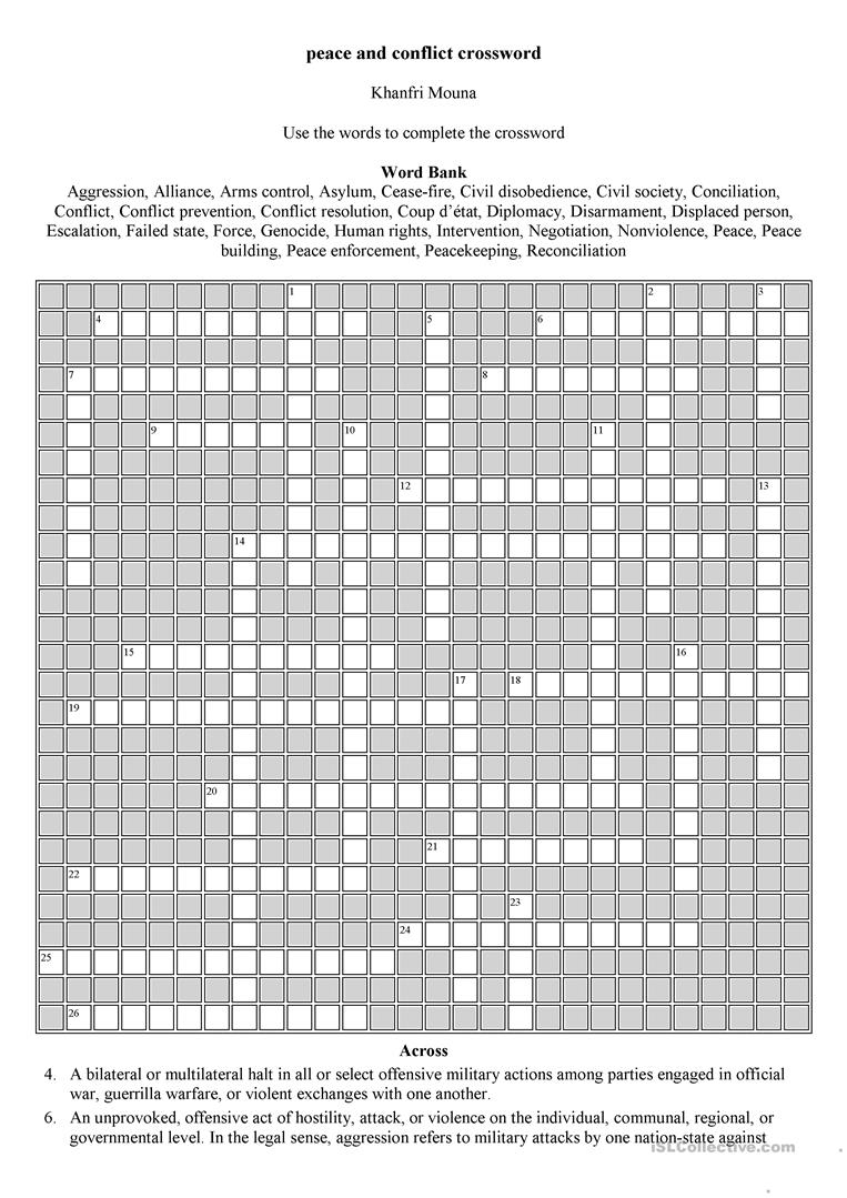 Peace And Conflict Crossword Worksheet - Free Esl Printable - Printable Conflict Resolution Crossword Puzzle