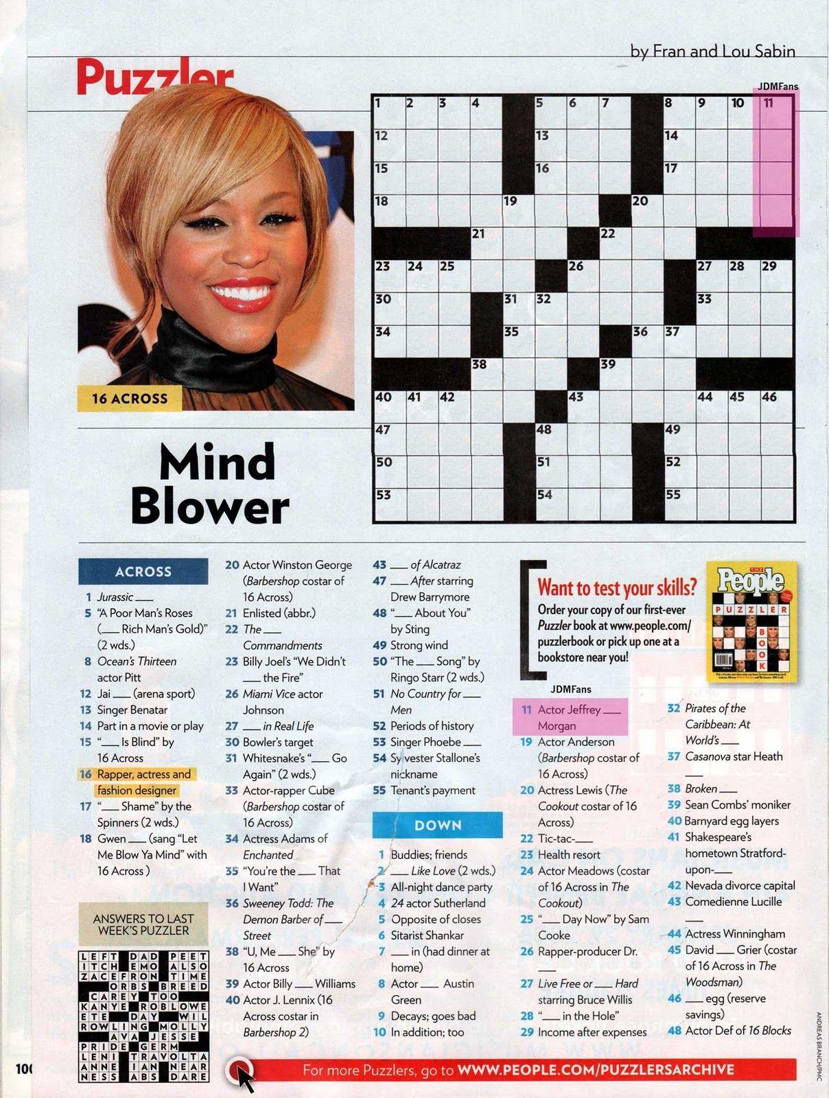 People Magazine Crossword Puzzles To Print | Puzzles In 2019 - Printable Celebrity Crossword Puzzle