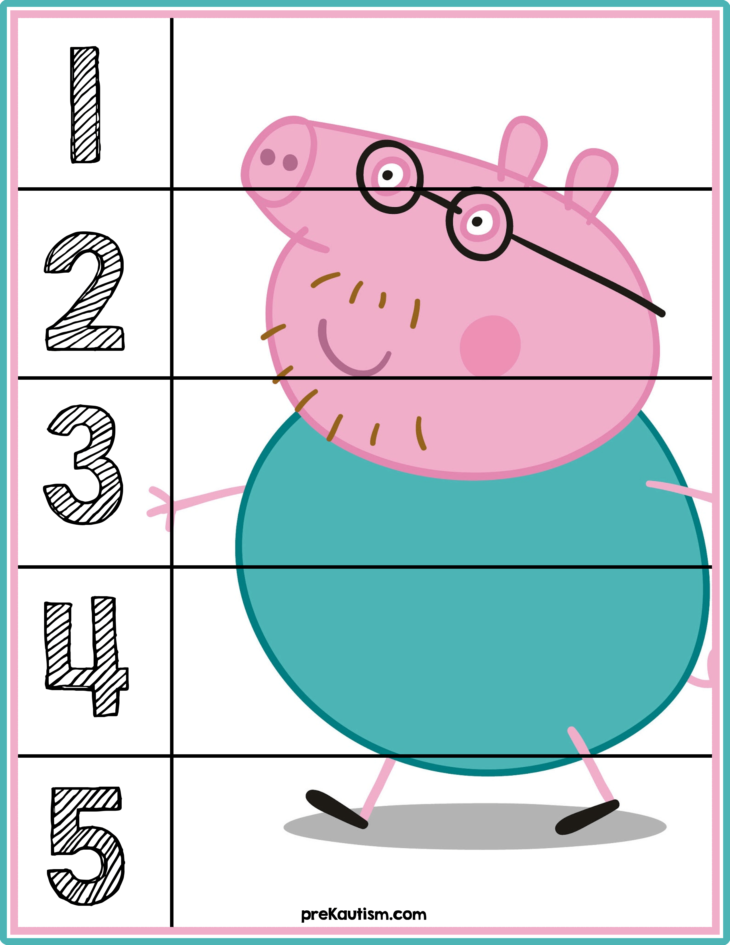 Peppa Pig Number Puzzles #'s 1-5 | Autism Activities For Ages 3-5 - Printable Puzzles For Toddlers