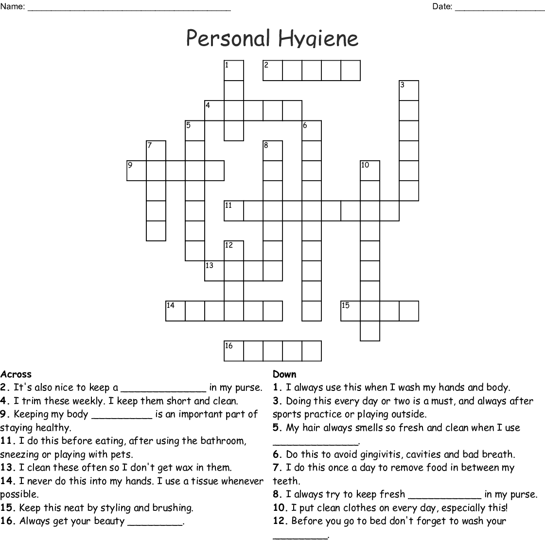 Personal Hygiene Crossword - Wordmint - Printable Personal Hygiene Crossword Puzzle
