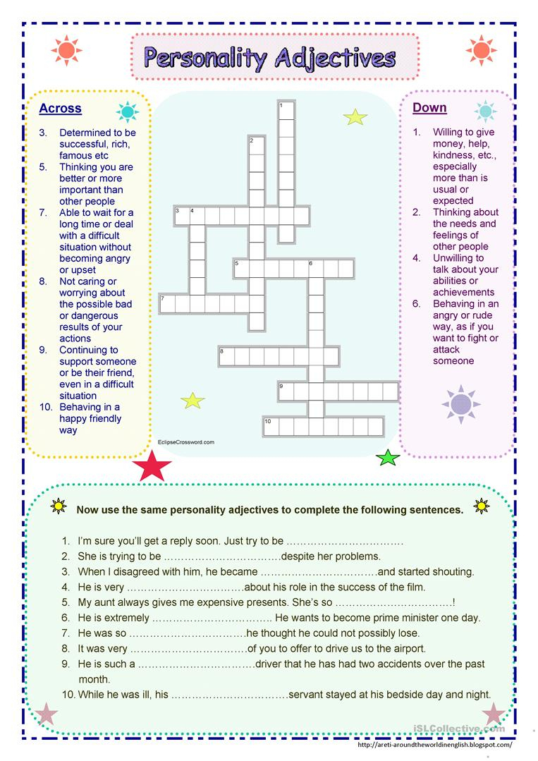 Personality Adjectives Worksheet - Free Esl Printable Worksheets - Printable Character Traits Crossword Puzzle